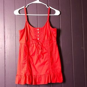 red spaghetti strap baby doll top